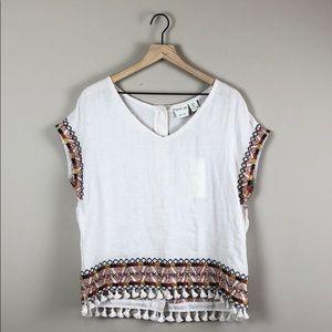 Rachel Zoe 100% Linen Boho Embroidered Top (Small)